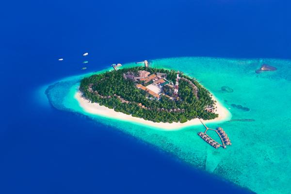 Vista aérea de uma das ilhas Maldivas
